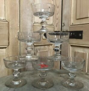 Belle-Serie-de-6-Verres-Souffle-Ancien-XIXeme-Antique-French-Glass-Coupe