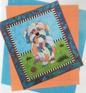 Lulu - fun Shih Tzu puppy applique & pieced wall quilt ...