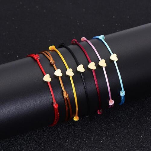 Love Heart Bangle Bracelet Charm Jewelry Handmand Woven Rope Bracelet Y2