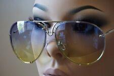 Mens Women Vintage Retro Aviator Style Sun Glasses Silver Frame Blue Yellow Lens