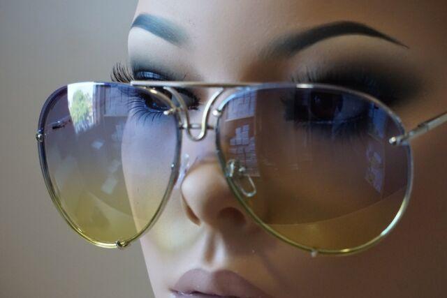 34a59b9aa5ffd Mens Women VINTAGE RETRO AVIATOR Style SUN GLASSES Silver Frame Blue Yellow  Lens