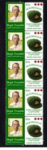AUSTRALIAN TEST CRICKET CAPTAIN STRIP OF 10 MINT VIGNETTE STAMPS, TRUMBLE 2