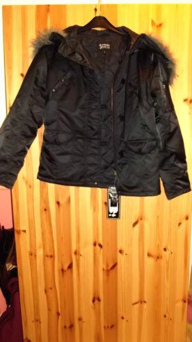 Scott origineel reversible jacket faux fur trim hood long sleeve zip fastening