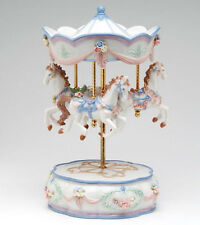 ♫ New MUSIC BOX Porcelain MERRY-GO-ROUND Vintage MUSICAL FIGURINE Horse CAROUSEL