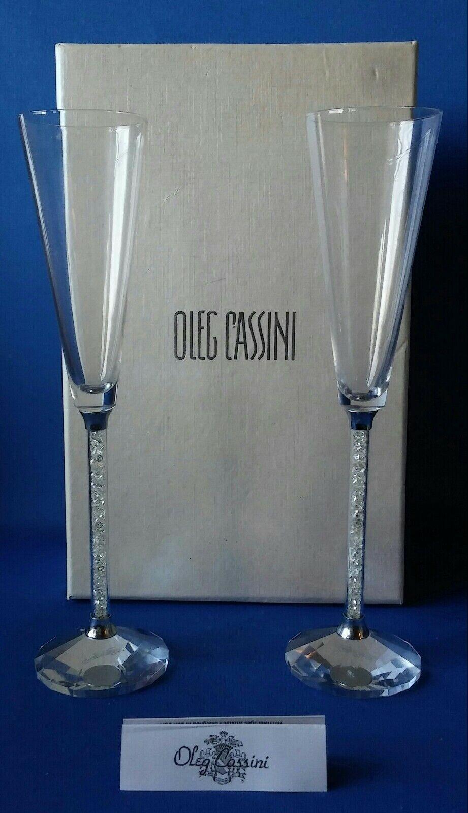 2 Oleg Cassini Crystal Prism Diamond Filled Toasting Champagne Crystal Flutes