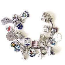 Heavy Vintage Antique 14K White Gold, Silver Charm Bracelet w/24 Travel Charms