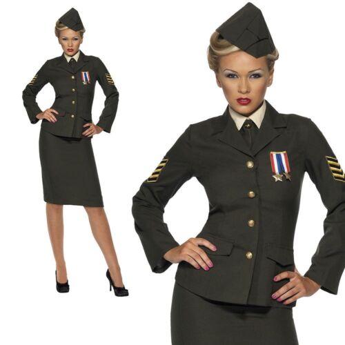 Wartime 1940/'s WW2 Army Officer Uniform Womens Fancy Dress Costume S-XL