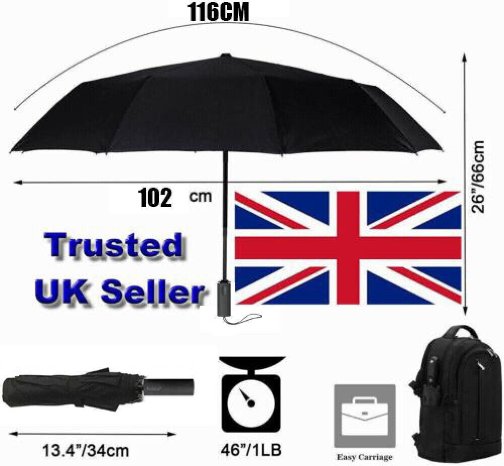 Umbrella Windproof 10 Ribs Stormproof Automatic Folding Strong For Men&Women