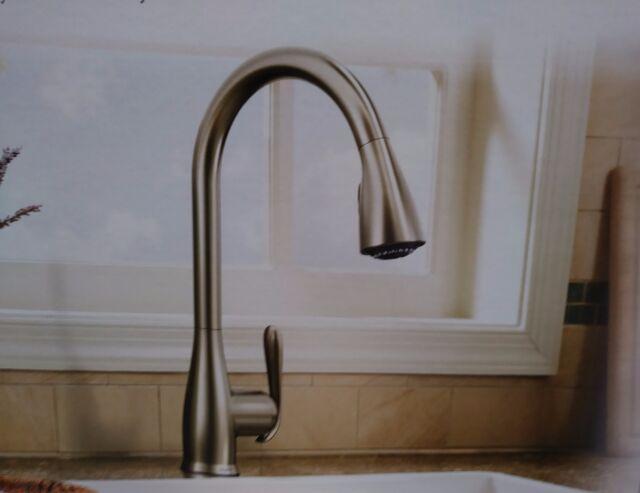 moen haysfield spot resist stainless 1 handle pulldown kitchen rh ebay com moen haysfield 87350esrs motionsense pulldown kitchen faucet Identify Moen Kitchen Faucet