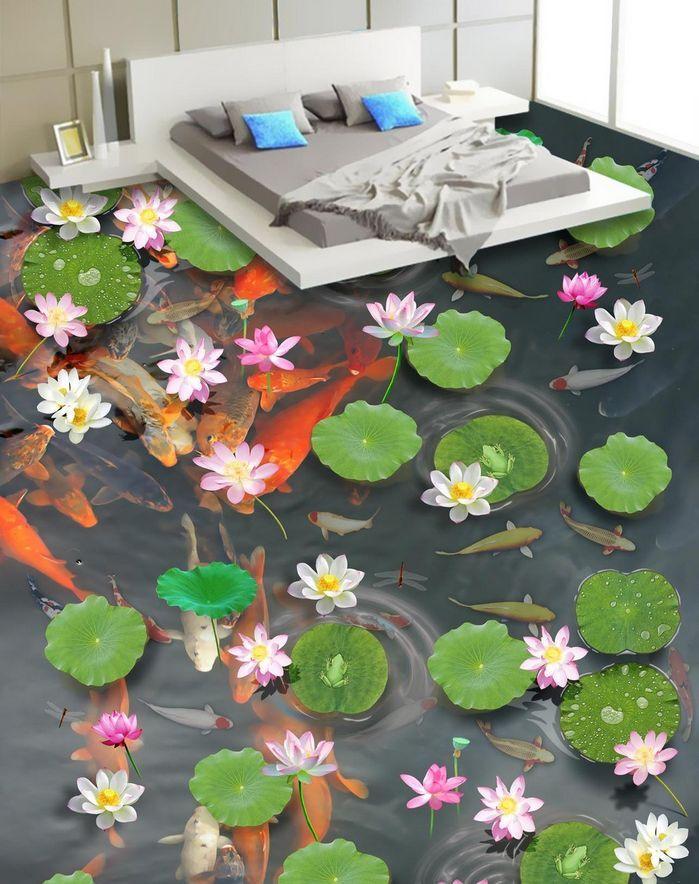3D Fisch Wasser Blume 982 Fototapeten Wandbild Fototapete Bild Tapete Familie
