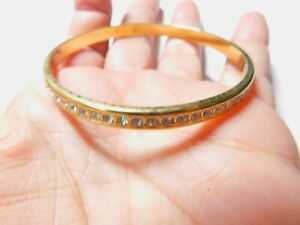 Signed-Monet-Clear-Rhinestone-Studded-Gold-Tone-Metal-Bangle-Bracelet-Vintage