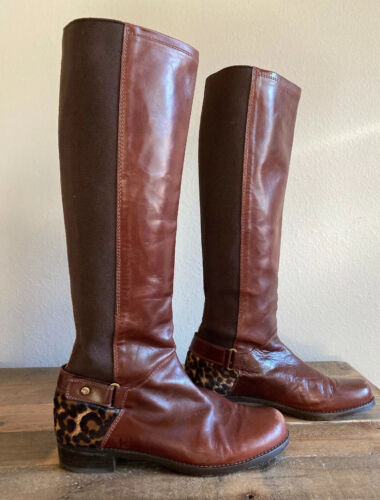 Stuart Weitzman Tall Brown Leather Animal Print Co