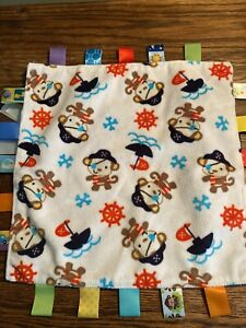 Personalised pirate nautical baby taggy blanket