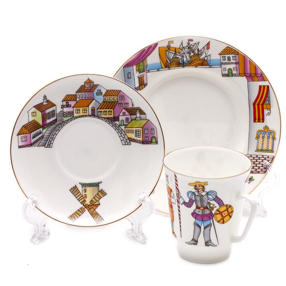 Don Quixote Ballet 3-piece Imperial Porcelain Teacup, Saucer & Plate. Lomonosov