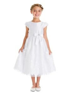 Flower Girls White First Communion Dress Smocked Cotton Wedding Easter Party New