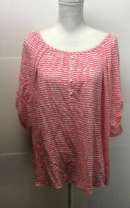 Ann-Taylor-Loft-Blouse-Top-Medium-Pink-And-White-3-4-Sleeve-Round-Neck-NWOT