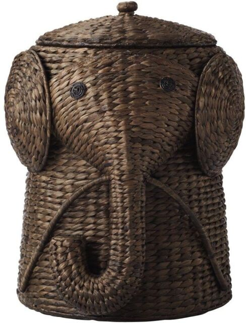 Elephant Trunk Laundry Hamper Animal Wicker Basket Woven Toy Storage Bin Brown