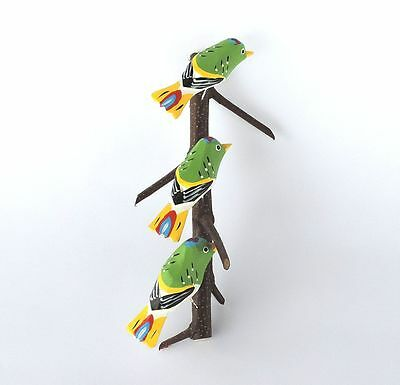 THREE GREEN BIRDS Beautiful traditional hand-carved and painted POLISH FOLK ART