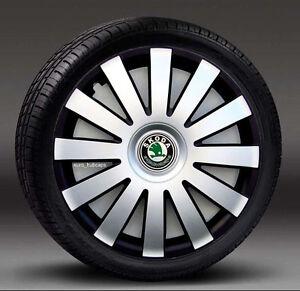 "Silver/Black 16"" wheel trims, Hub Caps, Covers to fit Skoda Octavia,Superb"