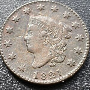 1821 Large Cent Coronet Head One Cent 1c Higher Grade XF RARE #28985