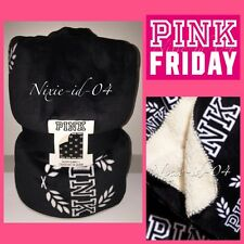 "Victorias Secret PINK Friday Sherpa Blanket 2016 50""x60"" Black White Logo NWT ❤️"
