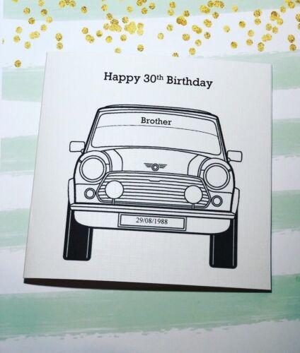 Handmade 18th birthday card Mens Boys 21 25 30 50 mini cooper Personalised