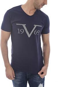 8805f6e8 VERSACE 1969 Large Logo Navy Blue V Neck T-Shirt Sizes S M L XL XXL ...