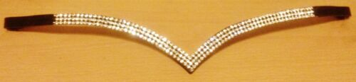 """16/"""" Black on sale Details about  /New Designer Ve Shaped 3 rows Clear Crystal Browband full"""