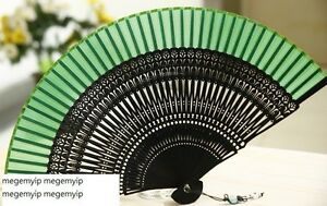 High Quality Japanese Folding Clear Hand Engraved Flower Bamboo Pocket Fan Green