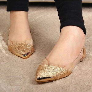 Women-039-s-Shoes-Bling-Bling-Clear-Ballet-Flats-Wedge-Heels-Pointed-Toe-Slippers