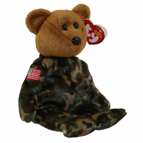 FREE UK P/&P Ty Beanie Baby HERO bear- flag on arm MINT used