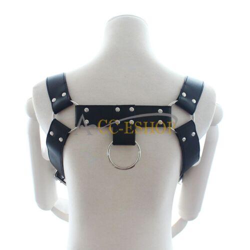 Hommes Halter Boucles Cuir poitrine harnais costume deguisement Clubwear sangles ceintures