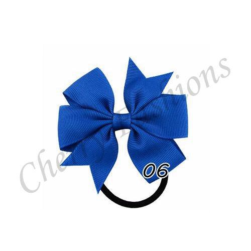 Baby Girls kids Ribbon Handmade pony tail band Hair Bows with Elastic Bobbles