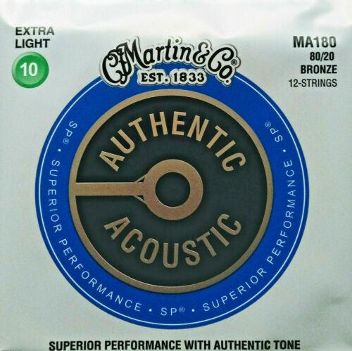 80//20 Bronze MARTIN MA-180 Western-Gitarren-Saiten 12-saitig 010-047