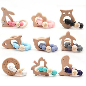 Animal-Wooden-Teether-Baby-Bracelet-Teething-Silicone-Beads-Chewable-Rattle-Toys