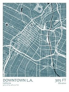 Spitzy/'s Los Angeles California Map Poster Home Wall Art for Your Bedroom o...