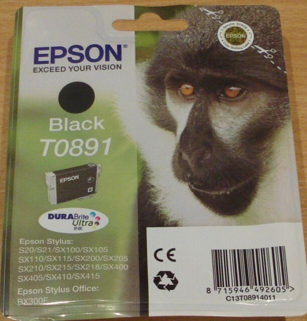 GENUINE EPSON T0891 Black cartridge ORIGINAL vacuum sealed TO891 OEM MONKEY ink