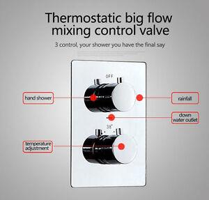 3-Wege-Thermostat-Unterputz-Mischer-Messing-Ventil-Duscharmatur-Brausearmatur