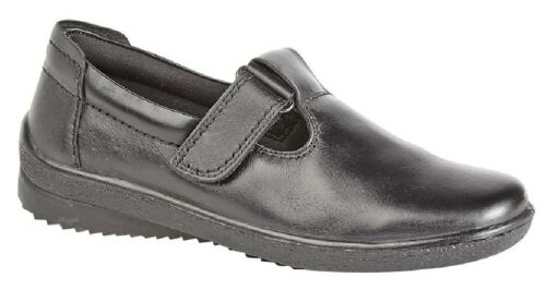 Mod Comfys L996 Touch Fastening Padded T-Bar Leather Shoes