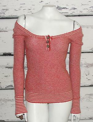 FREE PEOPLE~STRIPED~WOOL BLEND *HENLEY* SCOOP-NECK~SWEATER PULLOVER~XS (RARE)