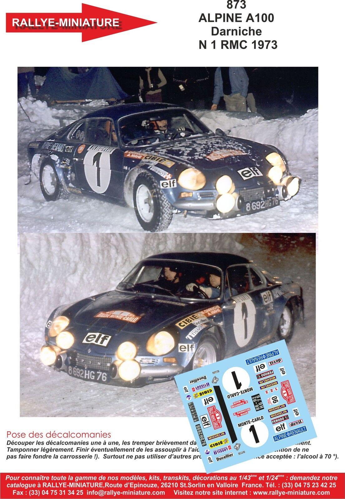 DECALS 1 18 REF 873 ALPINE RENAULT A110 DARNICHE RALLYE MONTE CARLO 1973 RALLY