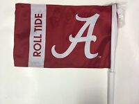 Alabama Car Flag, Comes With Kit To Turn Into A Wall Flag, Red W/alabama A