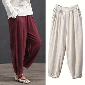 bd61b89b340 Casual Baggy Elastic Linen Cotton Women Harem Pants Bloomers Pockets ...