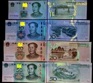 CHINA-SET-4-UNC-1-10-20-50-YUAN-2019-P-NEW-MAO-NEW-HYBRID-SECURITY-THREAD-UNC