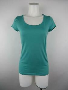 Ann-Taylor-Women-S-Solid-Blue-Pima-Cotton-Modal-Scoop-Neck-Short-Sleeve-Knit-Top