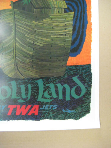 """TWA  Airlines 11/"""" x 17/"""" Collector/'s Travel Poster Print B2G1F HOLY LAND"""