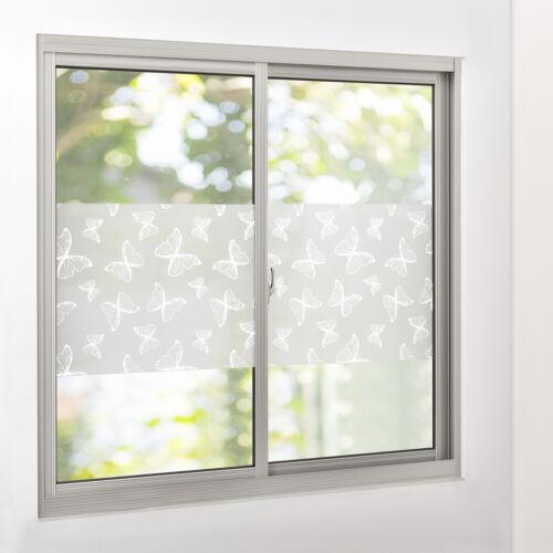 75 cm x 3 m casa.pro statisch ® Sichtschutzfolie Milchglas Schmetterling