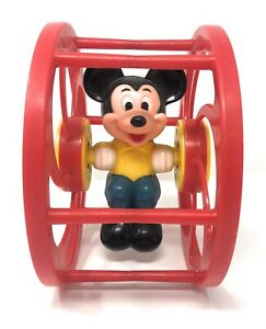 Vintage-Mickey-Mouse-Red-Rolling-Wheel-Toy-From-Walt-Disney-Productions-By-Illco