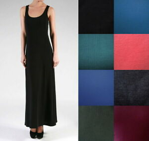 Details about NEW Plus Size Maxi Full Length Basic Tank Dress-  XL/1X-2X-3X-4X-5X-6X