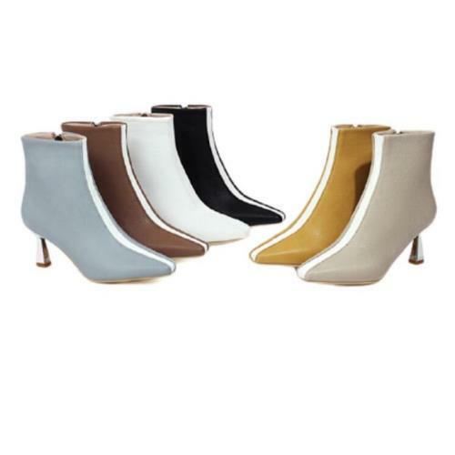 6 Colors Women's Smart Office Work Zipper Pointy Toe Kitten Heel Ankle Boots L